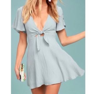 Lulu's Sea Day Tie Front Gray Skater Dress